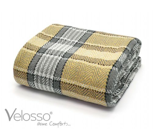 100% Cotton Throw Luxury Bourbon Tartan Check Highlands Sofa Bed Throwover Ochre Grey